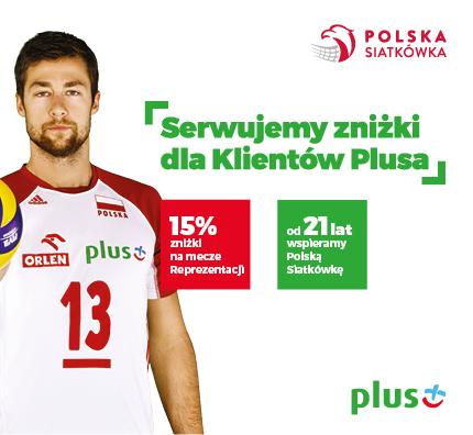 15% zniżki na bilety siatkarskich reprezentacji Polski dla klientów Plusa!